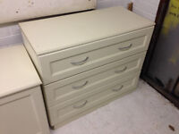 Chest of Drawers from fitted bedroom furniture, cream/ivory, 3 drawers, silver handles