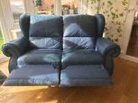 Two seat sofa blue leather