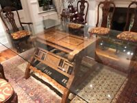 Rare preowned Colonial dining table and chairs (sold separately)