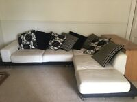 Cream leather corner sofa with chrome feet. Great condition.