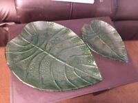 Green glass leaf plates