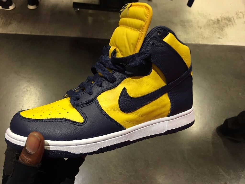 "NIKE DUNK HI ""YELLOW/BLUE"" RETRO AUTHENTIC DEADSTOCK"