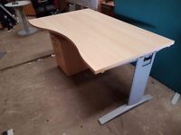 Beech office desks with matching pedistals