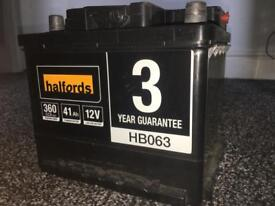 Brand new Halfords car battery