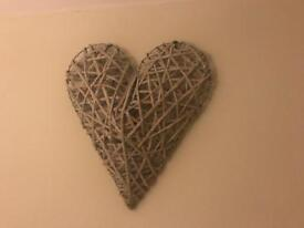 3D willow heart wall hanging