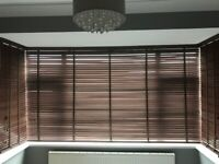 Hillarys Brand Dark Walnut Bay Window Blinds with Fittings for Sale