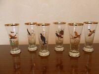 Glass Tumblers (Half pint with game bird prints)