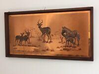 Vintage Retro Copper Art - African Landscape