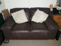 2 seater brown leather sofa - good clean condition