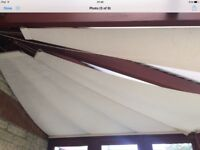 8 x Conservatory Roller Blinds - Cream Coloured to cover approx 4.5 x 2.8 Metre Roof, Sail Effect