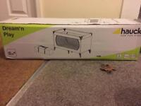 BRAND NEW travel cot with folding mattress