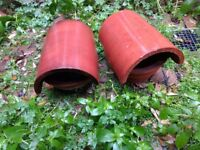 Reclaimed Chimney Cowl Clay Bonnet Chimney Pot Cover Terracotta Colour Original x2