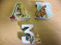 Winnie the Pooh A-B and number 3 children letters