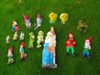 A FAMILY of 11 Gnomes + 2 Frogs + 2 squirrels NEEDING NEW HOME & TIDY UP
