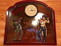 Wooden wall plaque picture artwork + clock. French Paris antique pub theme. Jazz band Vintage 1907