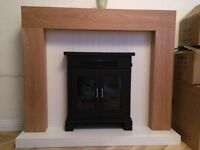 Sheridon Electric Fire Suite With White Hearth Oak Veneer