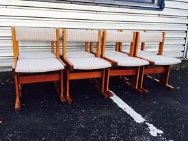 Gorgeous Retro Teak Dining Chairs, set of 8
