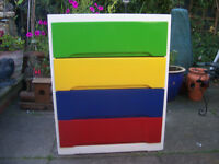Upcycled Wooden Multicoloured Childs Chest of Draws.