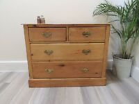 OVELY SET OF ORIGINAL ANTIQUE SOLID PINE EDWARDIAN 2 OVER 2 DRAWERS