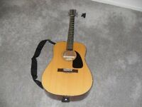 Fender acoustic guitar. complete with strap and guitar tuner