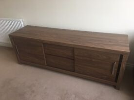TV / Media Unit (Next Furniture). Walnut. 2 cupboard sections with split shelves and a middle drawer