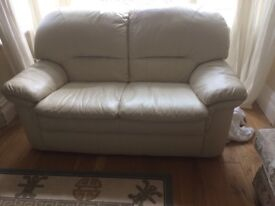 Butter cream Two Seater Leather Sofa