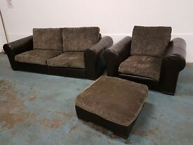 LEATHER / FABRIC 3 SEATER SOFA / SETTEE / LOUNGE SUITE CHAIR FOOTSTOOL MADE IN UK DELIVERY AVAILABLE