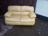 2 seat yellow Leather Sofa Delivery available £15