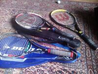 Three tennis racquets with covers and babolat tennis kit bag job lot for sale  Southside, Glasgow