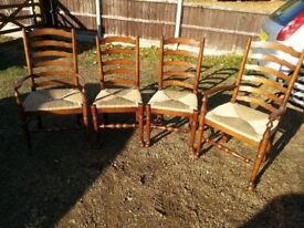 4 oak lancashire style dinning chairs