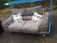 Two seater grey leather n cord