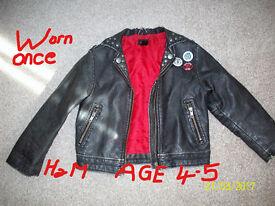 H&M BLACK FAUX LEATHER BIKERS JACKET, VINTAGE LOOK, AGE 4-5