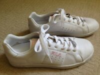 FilaTraining Shoes size 5 - White leather, pale pink writing