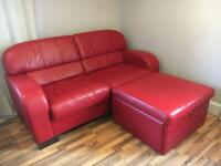 Like New Real Leather sofa bed + footstool