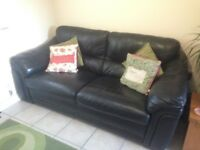 Black Leather Sofa, good condition and very comfortable.