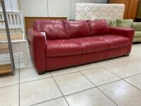 Faux Leather Sofa in Red