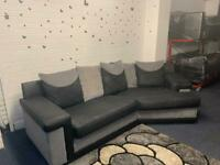 Grey & Black curved corner sofa delivery 🚚 sofa suite couch furniture