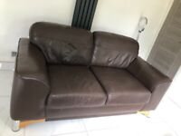 Brown leather sofas, 3 and 4 seater