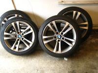 """BMW alloy wheel set=18"""",with 2 n/new Nexen tyres.[200miles only]"""