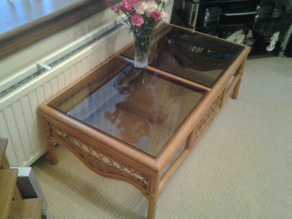 Cane Coffee Table Suitable For Living Room Or Conservatory Smoked Glass Top