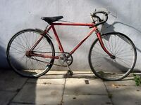 "Junior Road Bike by Raleigh, Orange, 24"" Wheels for Shorter Riders, Needs Restoring, CHEAP PRICE!!!"