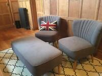 Accent chairs and footstool by Made