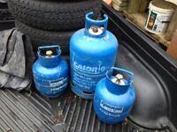 Empty Butane Calor gas bottles.