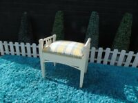 SOLID PINE DRESSING TABLE STOOL WITH STORAGE PAINTED WITH LAURA ASHLEY CREAM COLOUR
