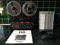 FOSTEX R8 8-TRACK RECORDER/MIXING DESK PACKAGE WITH RARE CONTROL PANEL EXTENSION CABLE AND 14 TAPES