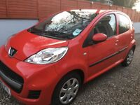Peugeot 107 petrol, 998cc, hatchback, 5 door, 2010, Red, manual, LESS THAN 30,000 miles
