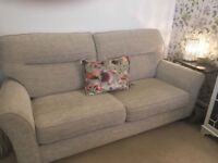 Sofa and armchair. Beautiful condition. Scotch guarded . Cream material sofa
