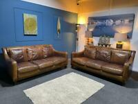 Gorgeous rustic tan leather suite 3 seater sofas x 2