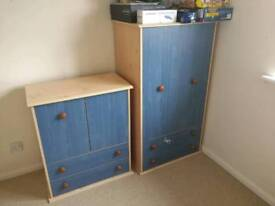 Kids chest of drawers with wardrobe set