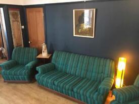 Vintage mid century retro cool kitsch 3 piece suite sofa setter armchairs blue green
